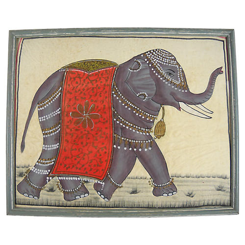 Caparisoned Indian Elephant on Silk