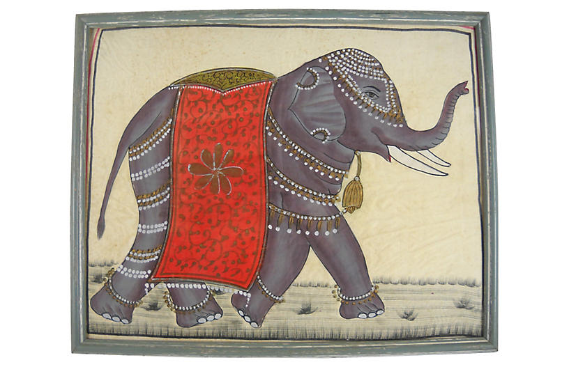Caparisoned Indian Elephant on Silk