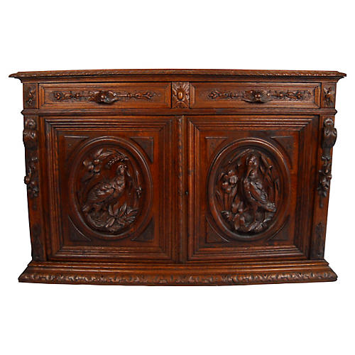 19th-C. Belgian Carved Sideboard