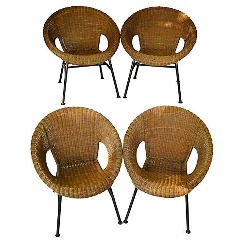 Mid-Century Wicker Hoop Chairs, S/4