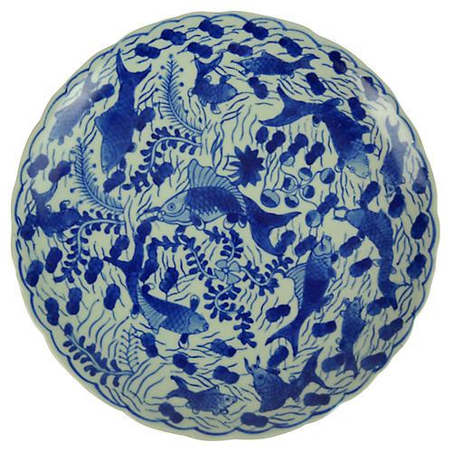 Porcelain Carp Pedestal Dish