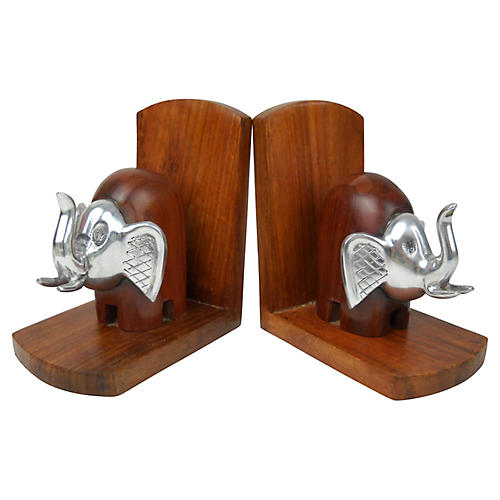 Wood & Metal Elephant Bookends, Pair