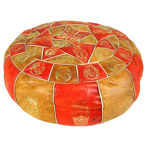 Vintage Moroccan Orange Leather Pouf