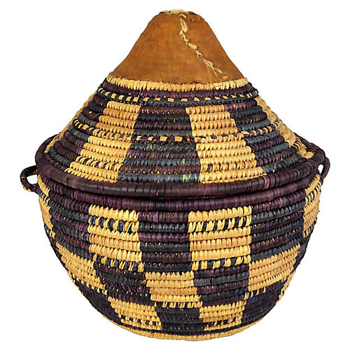 African Woven Basket With Cover
