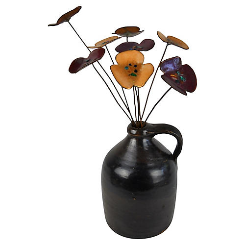 Jug With Enamel & Metal Flowers, 9 pcs.