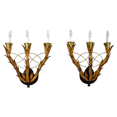 Laurel Leaf Wall Sconces, Pair