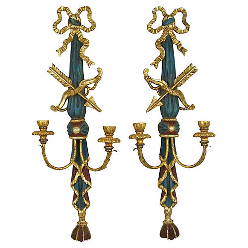 Italian Polychrome Wood Wall Sconces, Pr