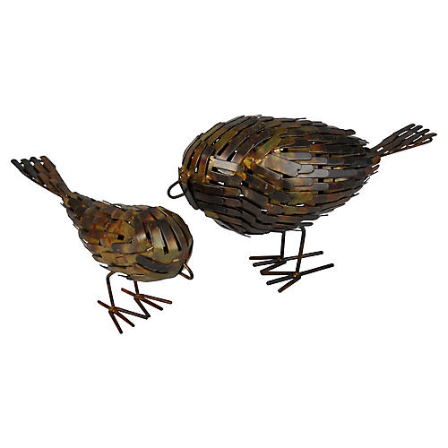 Modernist Metal Bird Sculptures, S/2