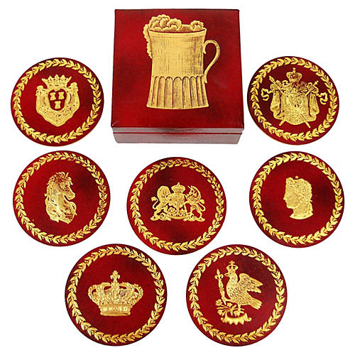 Swedish Leather Coaster Set, 8 Pcs.