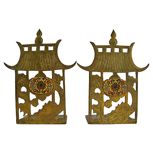 Chinese Brass Pagoda Bookends, Pair