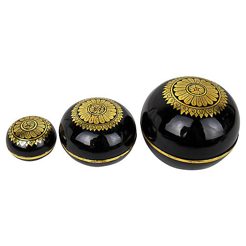 Burmese Lacquer Stacking Boxes, S/3