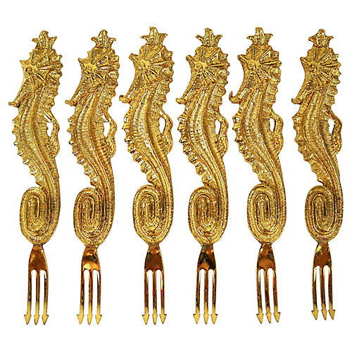 Gilt Seahorse Hors D'ouvres Picks, S/6