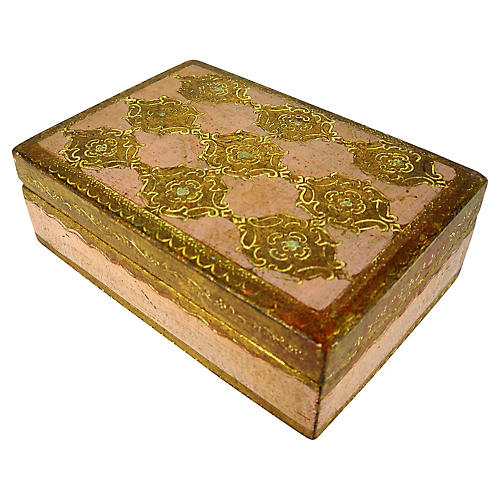 Florentine Pink & Gold Trinket Box