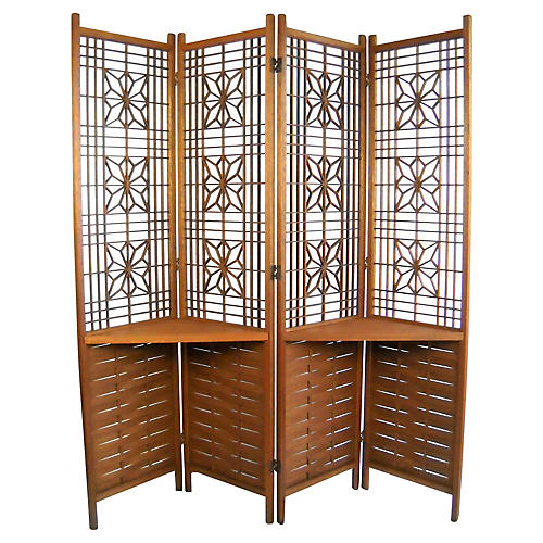 Reticulated Teak Room Screen w/ Shelves