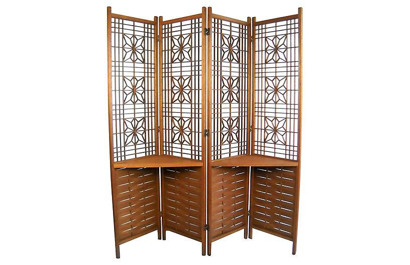 Reticulated Teak Room Screen w/ Shelves