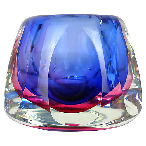 Flavio Poli Faceted Murano Glass Vase