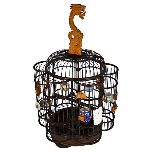 Chinese Dragon-Handle Birdcage