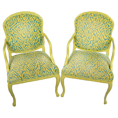 Carved Palm Frond Leaf Armchairs, Pair