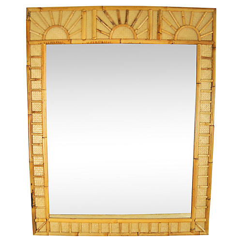 Bamboo Raffia Sunrise Wall Mirror