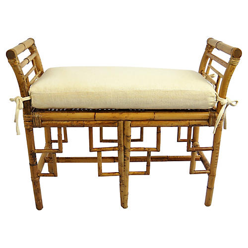 Chinoiserie Bamboo Bench