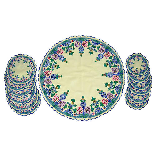 Embroidered Tabletop Linens, 13 Pcs.