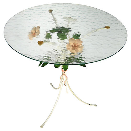 Italian Floral Tole Side Table