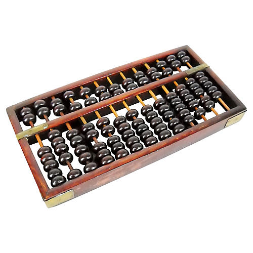 Chinese Brass & Wood Abacus