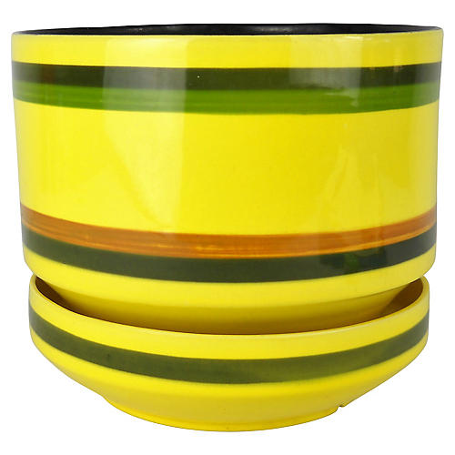 Midcentury Striped Yellow Planter & Base
