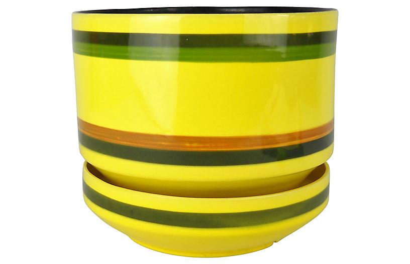 Midcentury Striped Yellow Planter & Base