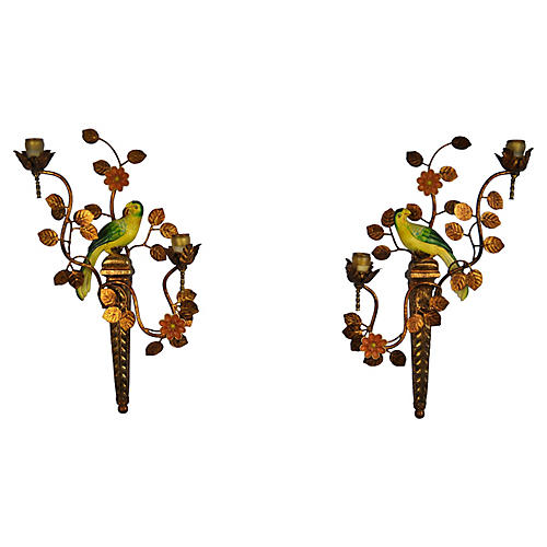Parrot Candle Sconces, Pair