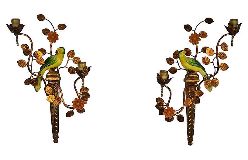 Parrot Candle Sconces, Pair