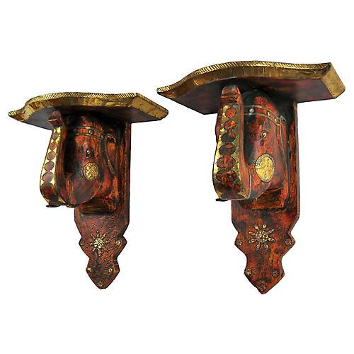 Carved Wood & Brass Elephant Brackets