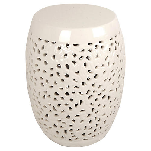 Reticulated White Ceramic Garden Seat