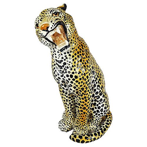 Italian Ceramic Growling Leopard