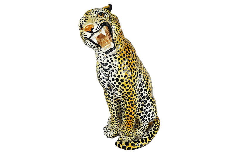 Italian Ceramic Growling Leopard