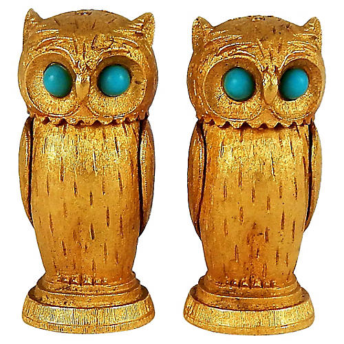 Goldtone Owl S&P with Turquoise Eyes, Pr