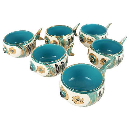 Rare Bitossi Fish Cups, S/6