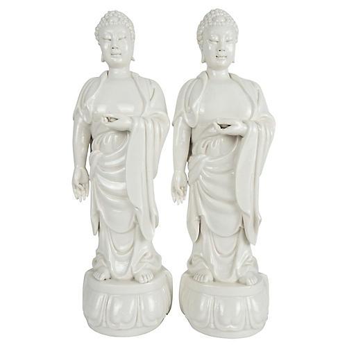 Blanc de Chine Standing Buddhas, Pair