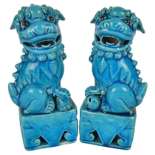Antique Turquoise Glazed Foo Dogs, Pair