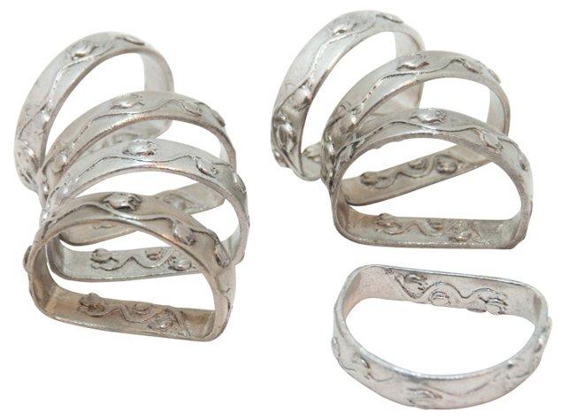 Pewter Napkin Rings, S/8
