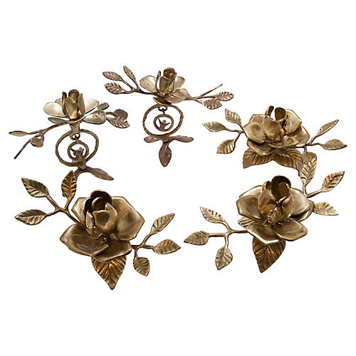 Floral Brass Candleholders, S/5