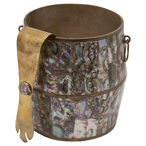 Brass & Abalone Mexican Ice Bucket