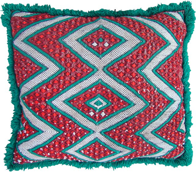 Green, Red & White Moroccan Sham