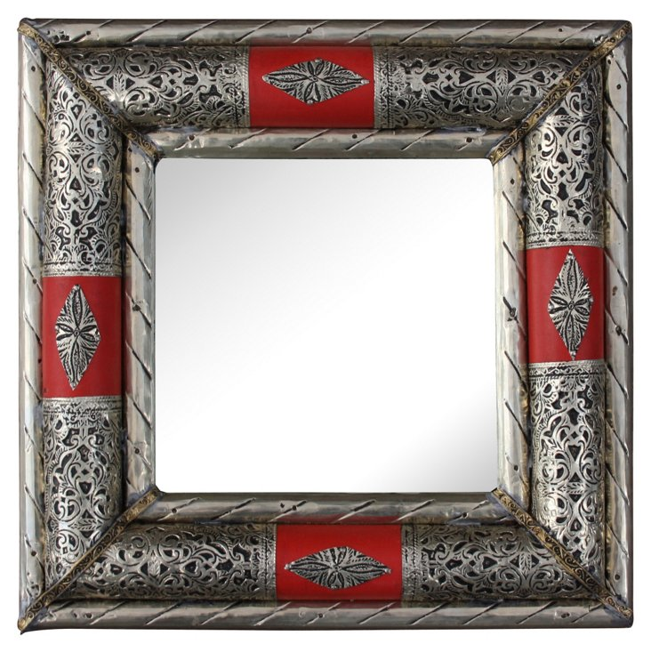 Moroccan Mirror w/ Red Leather Design