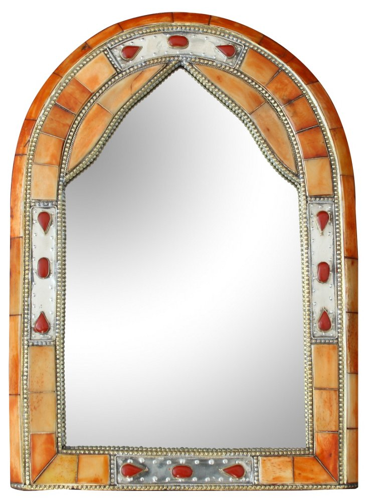 Moroccan  Mirror w/ Amber Inlay