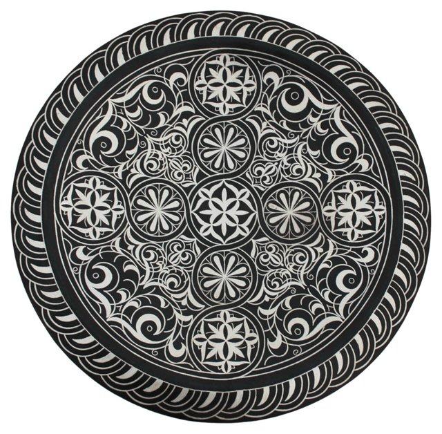Moroccan Metal Plaque w/  Silver Pattern
