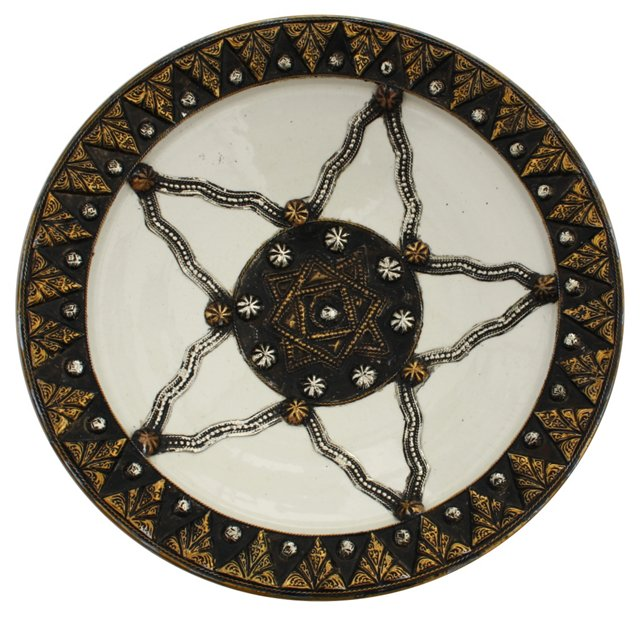 White Moroccan    Ceramic Wall Plate