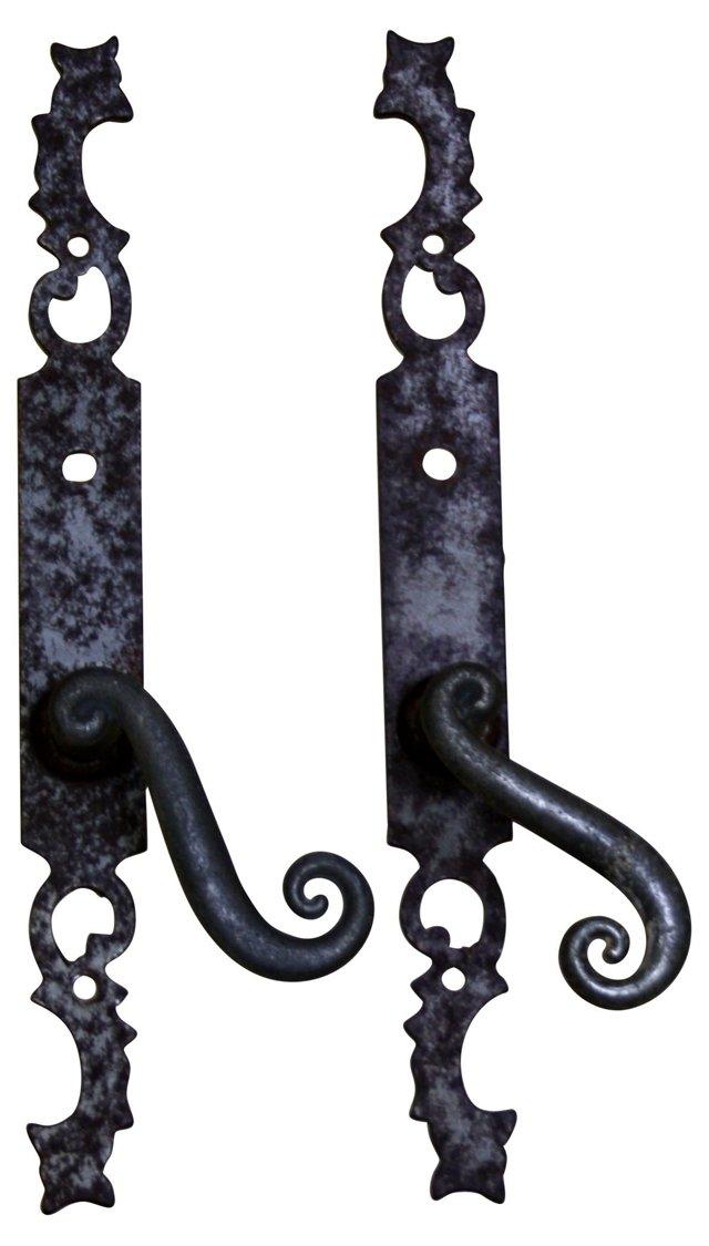 Antique French Door Handles, Pair