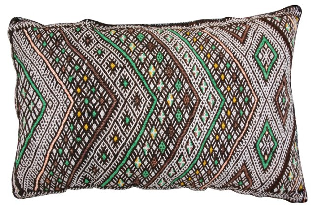 Moroccan Sham w/ Maroon & Green Diamonds
