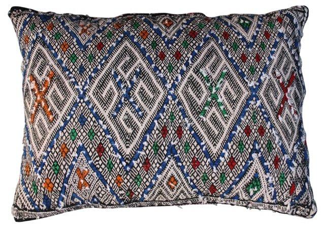 Moroccan Sham w/ Blue Diamonds & X